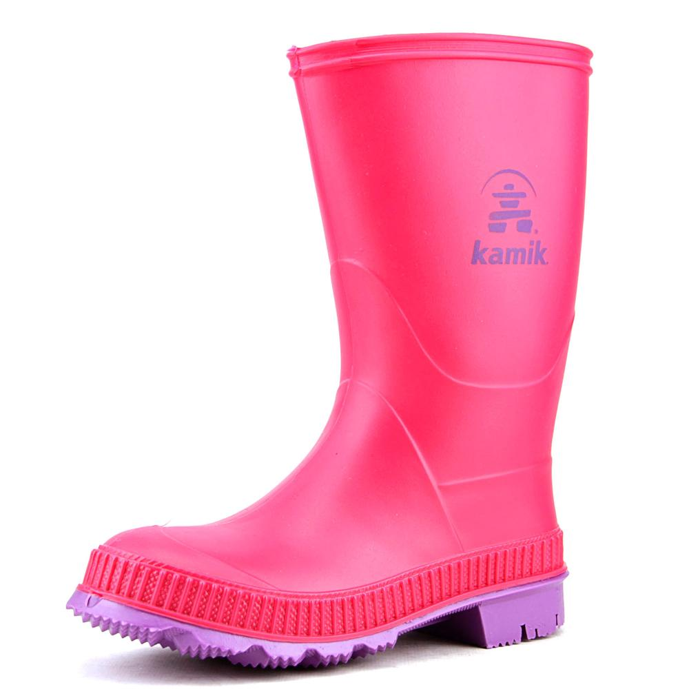 Kamik Stomp Youth  Round Toe Synthetic Pink Rain Boot