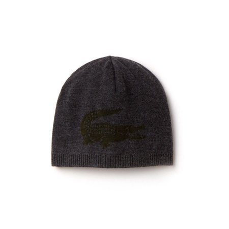 NEW MEN'S LACOSTE (RB3531) BIG CROC LOGO GREY WOOL BEANIE HAT CAP REVERSIBLE (Lacoste Hats For Men)