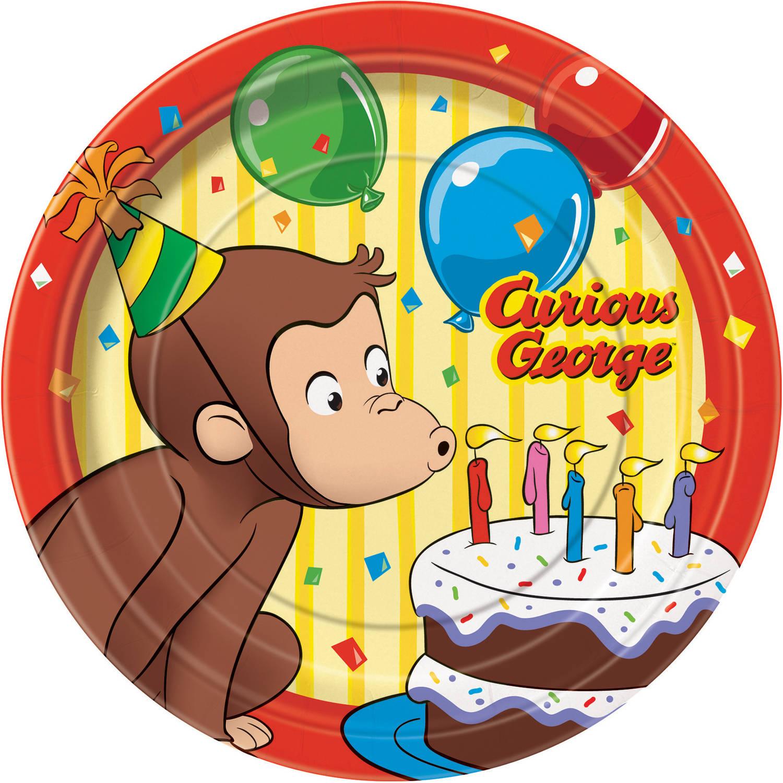 "7"" Curious George Paper Dessert Plates, 8ct"