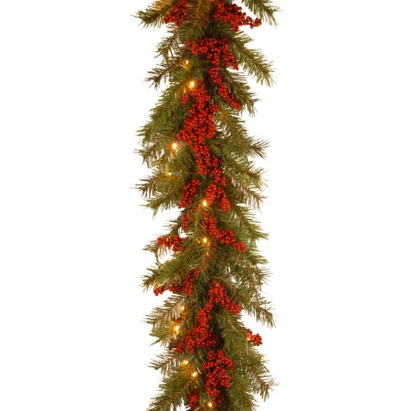 9 ft. Valley Pine Garland with Battery Operated Warm White LED Lights