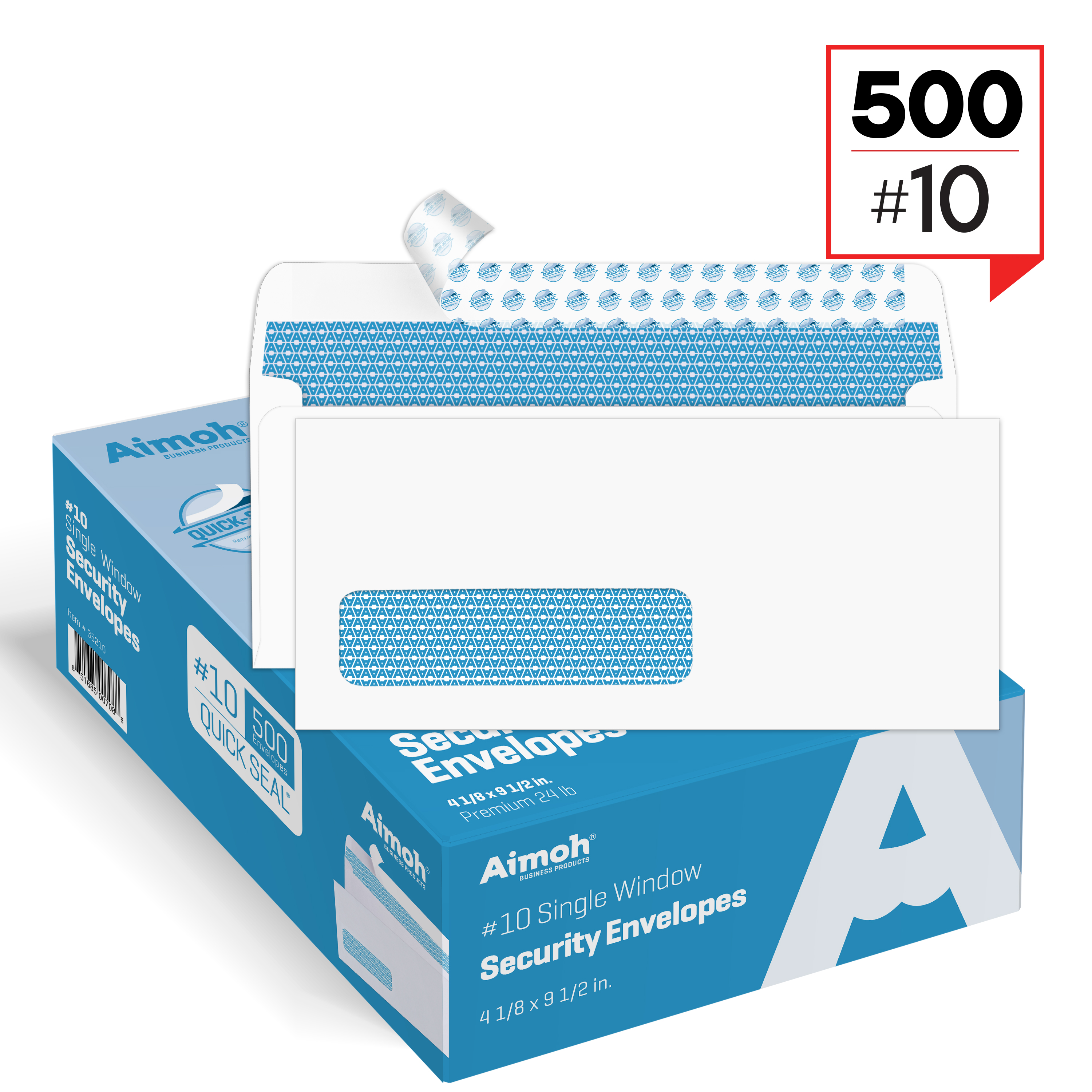 #10 Single Left Window Security Tinted Self�Seal Envelopes 4�1 8 x 9�1 2 500 Count (35210) by Aimoh