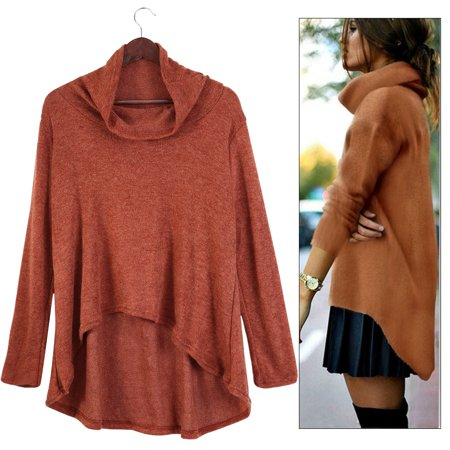 Women Loose Over Size Long Sleeve Turtleneck Cowl Neck Pullover Knitted Jumper Sweater Tops