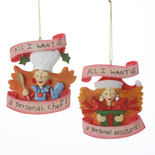 "Club Pack of 12 ""All I Want.."" Personal Chef and Assistant Christmas Ornaments"