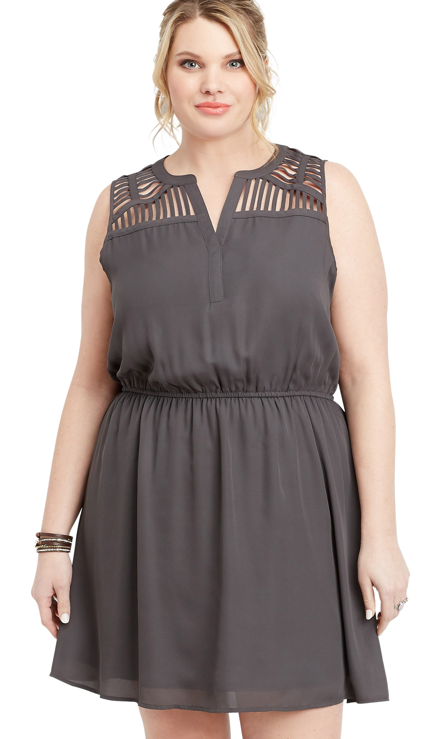 maurices - Plus Size Lattice Shoulder V-Neck Dress - Walmart.com