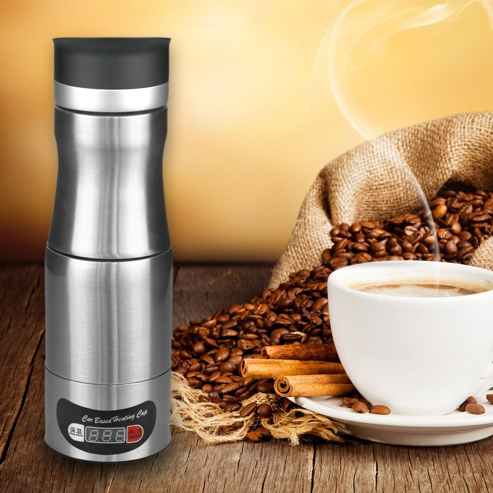 Car Based Heating Cup Travel Trip Coffee Maker Stainless ...