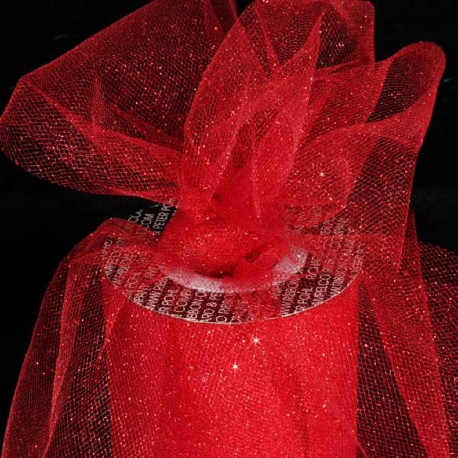 "Designer Ruby Red Glitter Tulle Craft Ribbon 6"" x 110 Yards"