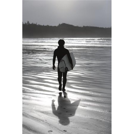 Cox Bay Tofino British Columbia Canada - Surfer Walking On The Beach Poster Print by Deddeda, 22 x 34 - Large - image 1 of 1