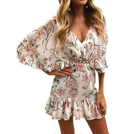 25e21f7232 Sexy Dance - Women Summer Boho Floral Print Ruffle Chiffon Loose Short Mini  Dress Holiday Beach Sundress Bats Short Sleeve V-neck Casual Beachwear ...