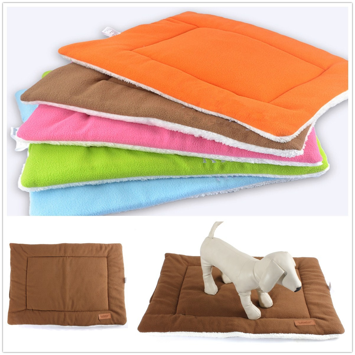 Extra Large Dog Cat Pet Beds Washable Soft Comfortable Warm Bed Mat Padding House  Sleep Crate Fleece Kennel Cushion Pet Blanket Bed S M L XL