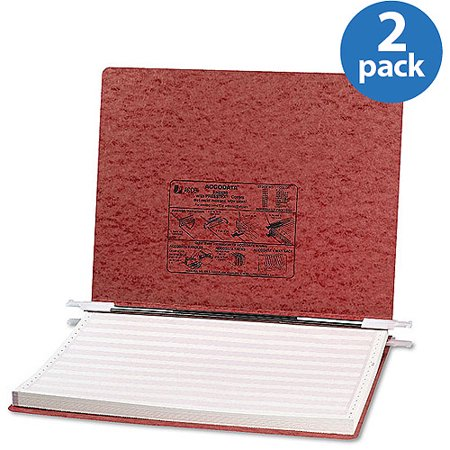ACCO Pressboard Hanging Data Binder, Red, 2 Pack