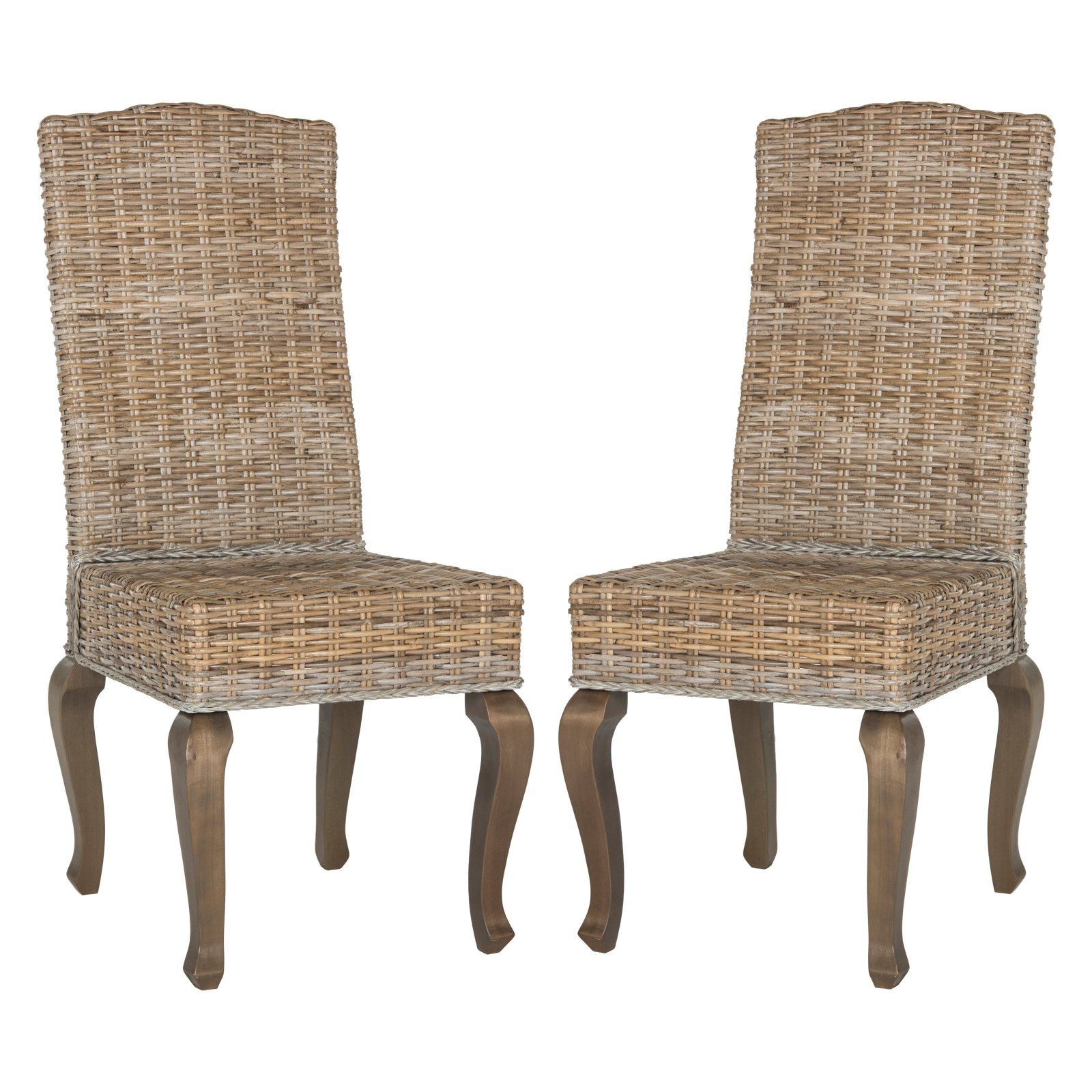 Safavieh Milos 18 High Wicker Dining Chairs Multiple Colors Set