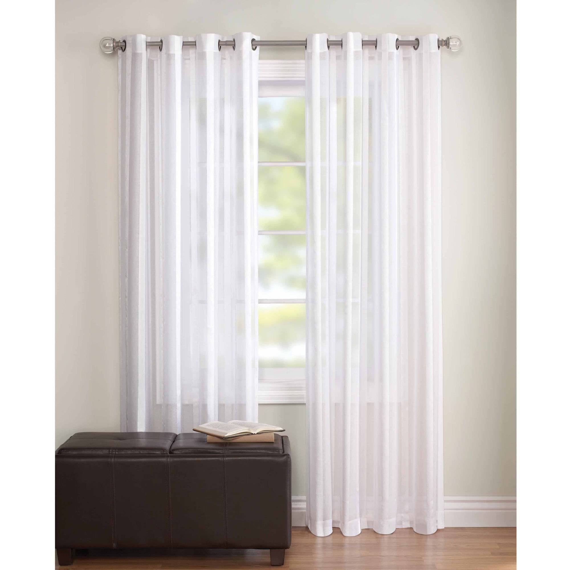 Walmart Curtains For Living Room Better Homes And Gardens Toby Textured Stripe Sheer Window Panel