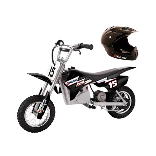 Razor MX400 Dirt Rocket Electric Black Moto Bike with Youth Full Face Helmet
