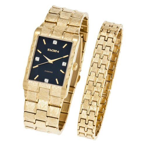 Elgin Men's Textured Watch and Bracelet Set