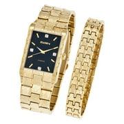 Men's Textured Watch and Bracelet Set