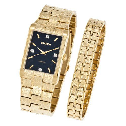 Elgin Men's Textured Watch and Bracelet Set