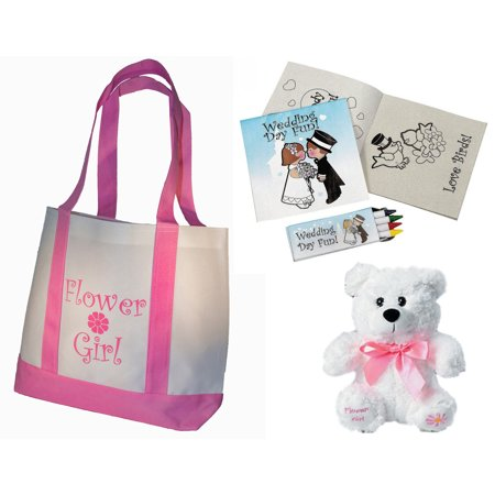 Beaded Flower Tote - Flower Girl Gifts Set: Tote Bag, Teddy Bear, Wedding Day Activity kits