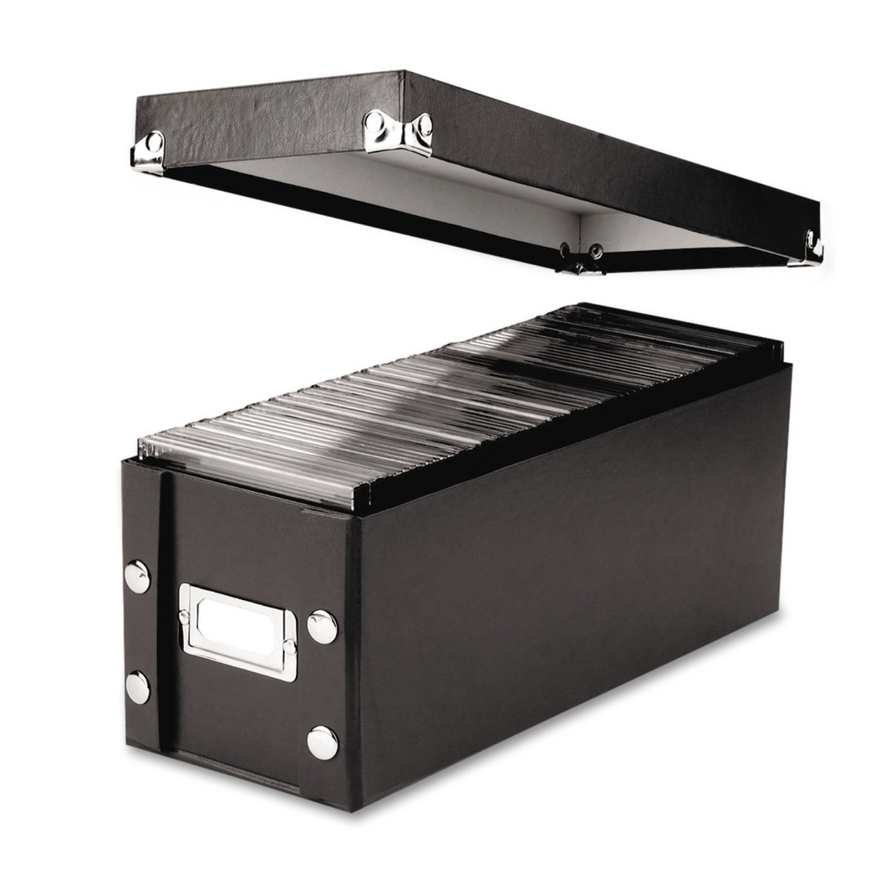 CD Storage Box, 13.25 x 5.125 x 5.125 Inches, Black (SNS01521), Holds 30 CDs in full jewel cases, 60 CDs in slim cases, and 165 discs in CD sleeves By Snap-N-Store,USA