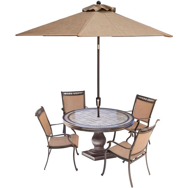 Fontana Dining Set with Sling-back Dining Chairs & Tile-top Dining Table Umberella- 5 piece