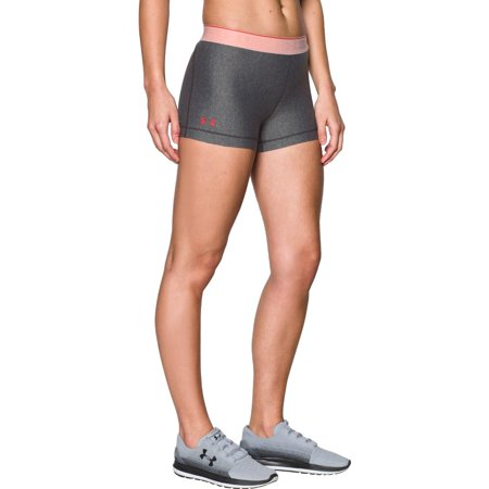 "Under Armour Women's HeatGear Armour 3"" - Shine Waistband Shorts, Anthracite /Pink Shock, Medium"