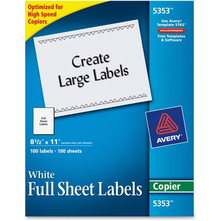 Can I Make Copies At Walmart >> Avery Copier Full Sheet Labels 8 1 2 X 11 White 100 Box