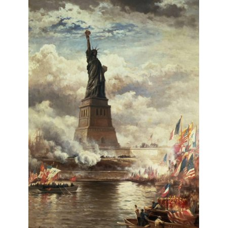 The Unveiling of the Statue of Liberty, Enlightening the World, 1886 United States Americana History Art Print Wall Art By Edward Moran