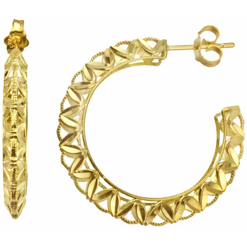 US GOLD Handcrafted 10kt Yellow Gold Diamond-Cut Hoop Earrings