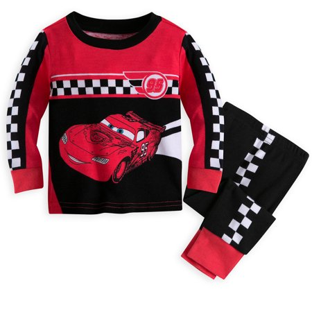 Disney Store Baby Boys Lightning McQueen - Cars - Long Sleeve PJ PALS Pajama Set