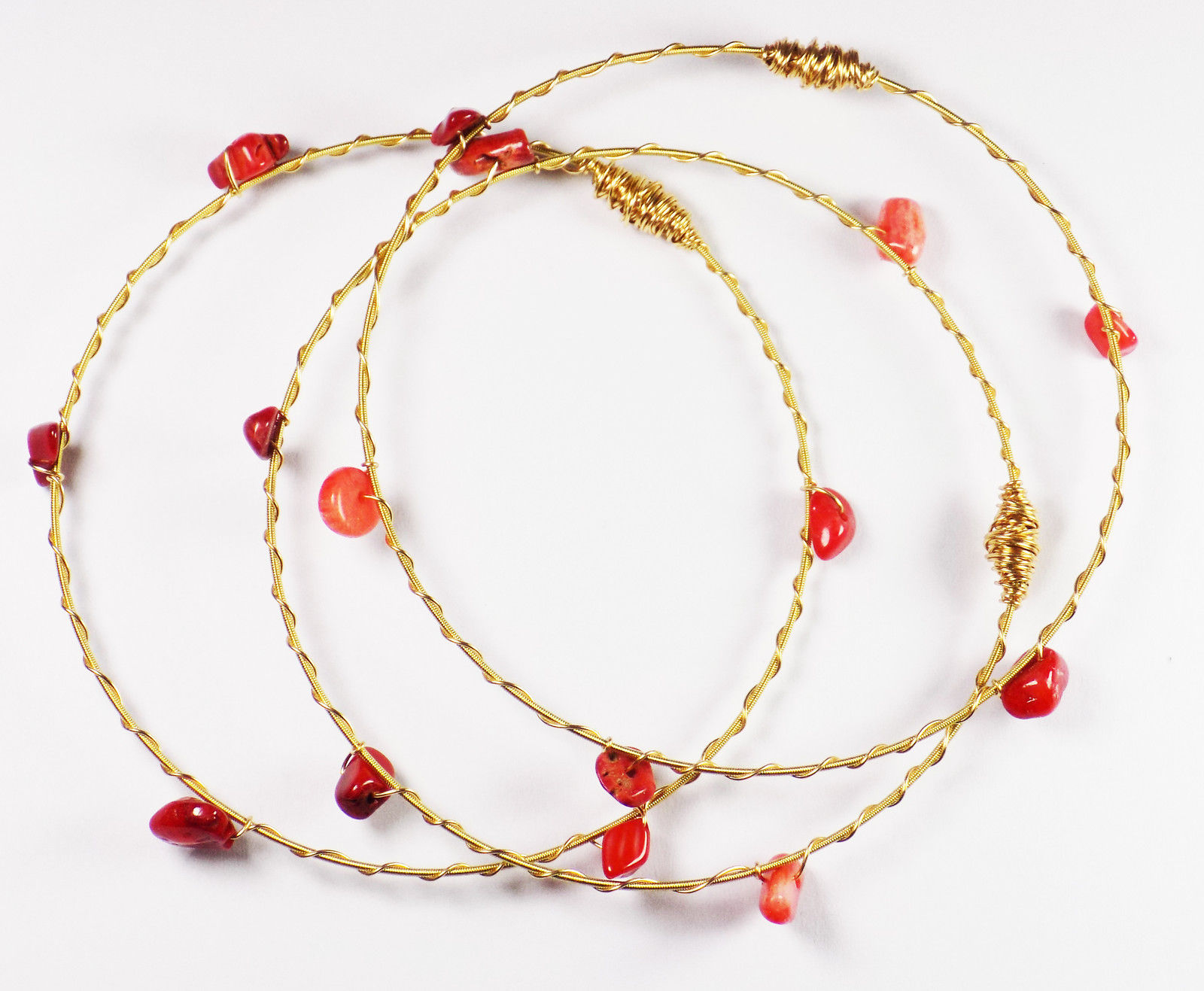 Restrung Jewelry Red Coral Bangles Hand Crafted Gold Recycled Guitar String and Gemstone Bracelets Set of 3 by Restrung Jewelry