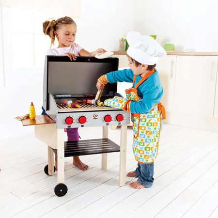 Hape Kids Wooden Gourmet BBQ Grill with Pretend Play Set with Food Accessories - image 5 de 7