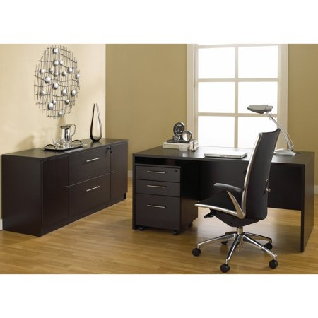Jesper Office 100 Series Executive Desk And Credenza With Mobile Pedestal White