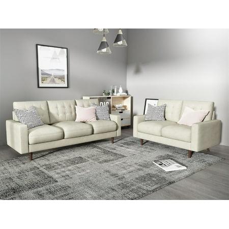 US Pride Furniture Edwyn Matte Velvet Fabric 2 Piece Living Room Set, Beige