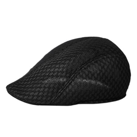 Opromo Mens Breathable Summer Hat Newsboy Beret Ivy Cap Driving Cabbie Flat Cap-Style B Black