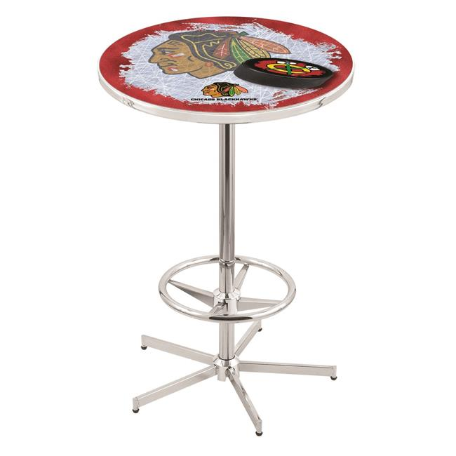 Holland Bar Stool L216C4236ChiHwk-R 42 in. Chicago Blackhawks Pub Table with 36 in. Top, Chrome - image 1 of 1
