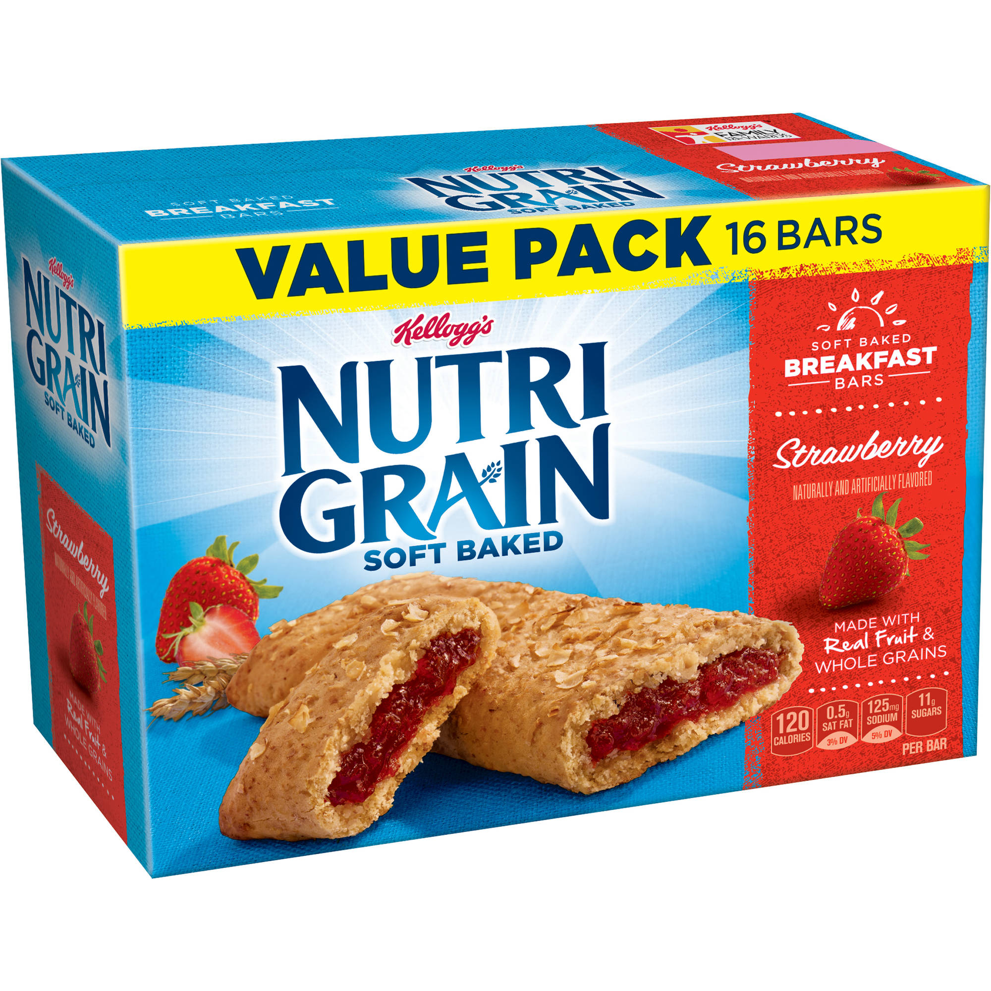 Kellogg's Nutri-Grain Soft Baked Strawberry Breakfast Bars, 1.3 oz, 16 count
