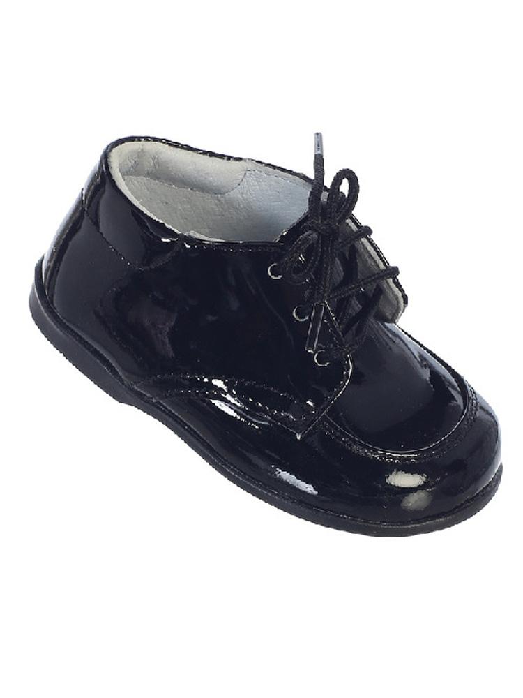 Kids Black Stitches Lace Up Dress Shoes