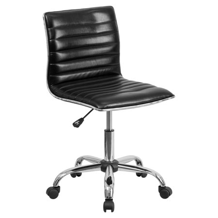 Flash Furniture Low-Back Armless Ribbed Designer Swivel Leather Task Office Chair, Multiple Colors