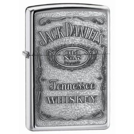 Zippo Jack Daniel's Tennessee Whiskey Emblem Pocket Lighter, High Polish Chrome