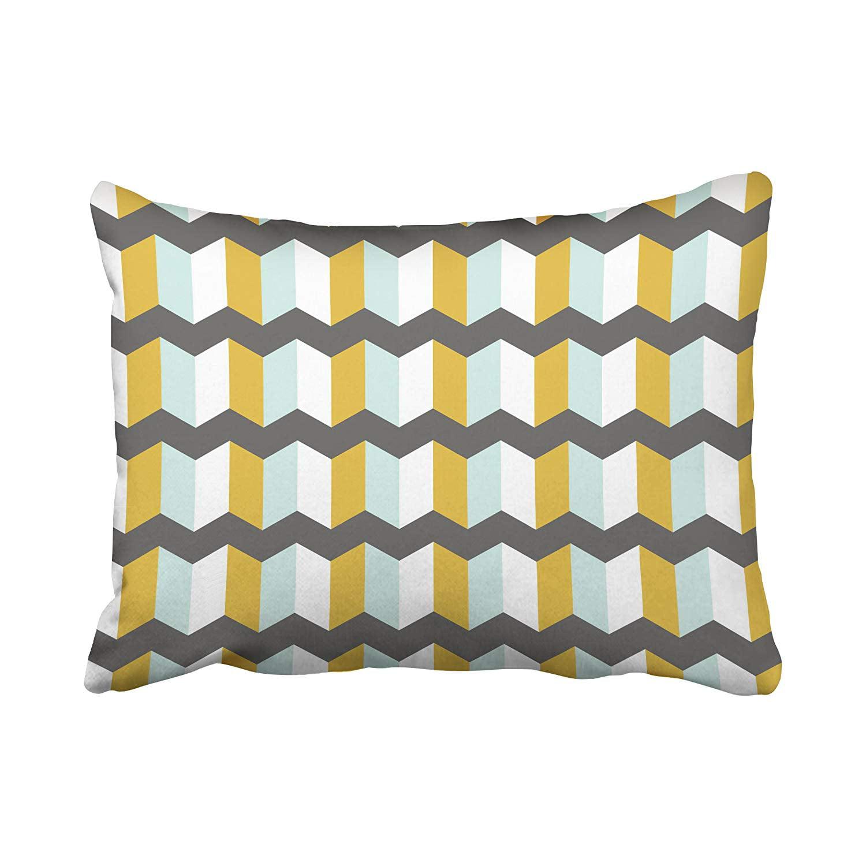 BPBOP Geometric Stripes Chevron Mint And Yellow Pattern Pillowcase Cushion Cover 20x30 inch