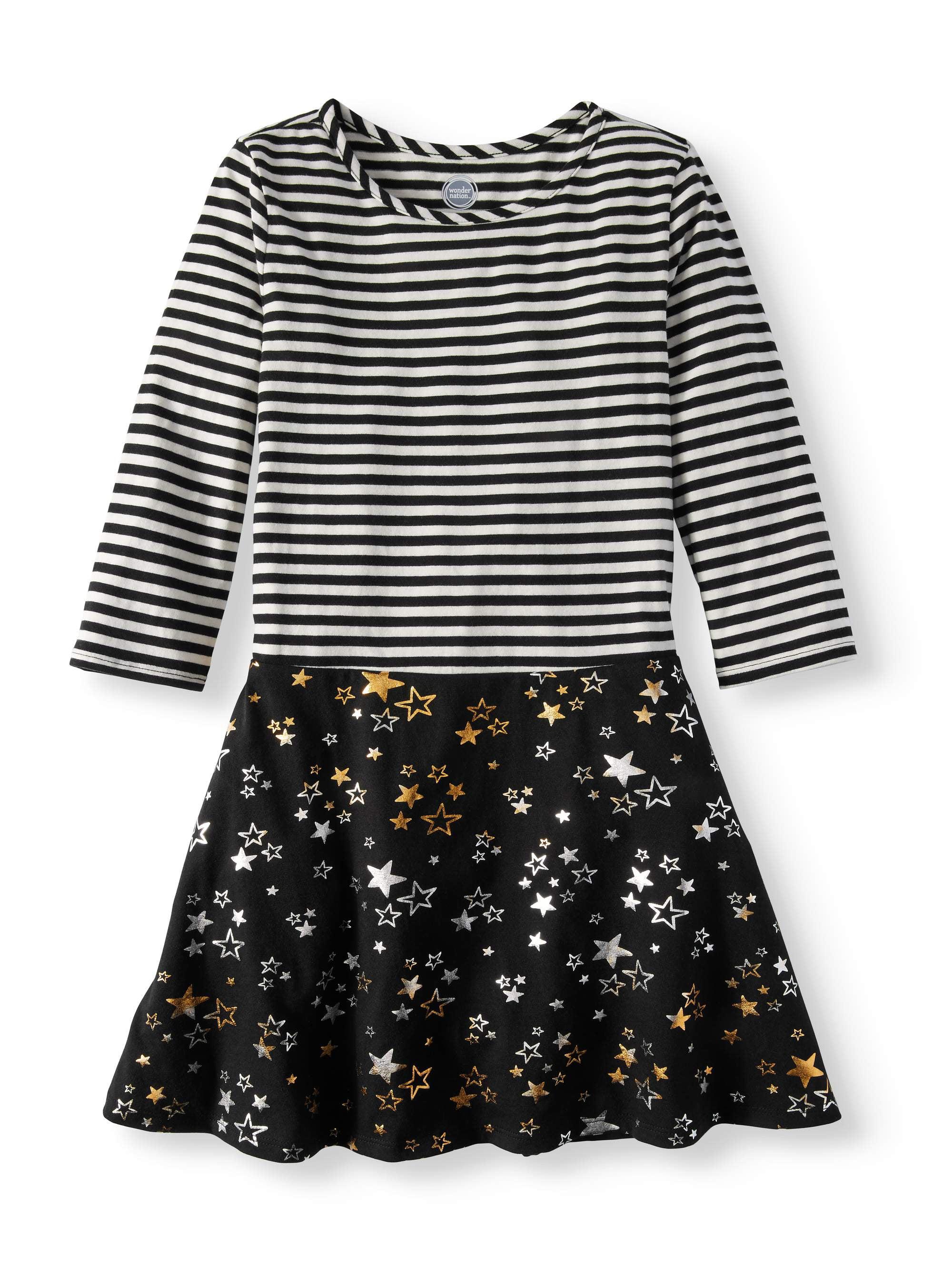 Striped Combo Jersey Dress (Little Girls and Big Girls)