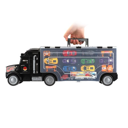 UBesGoo 2-Sided Transport Car Carrier Semi Truck Toy With 9 Cars and 6 Accessories