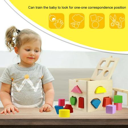 Spptty Bébé intellectuel 13 trous jeu de construction de blocs de formes géométriques précoce jouet éducatif, jouet de bloc en bois, jouet éducatif géométrique - image 1 de 7