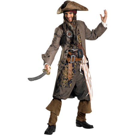 Pirates of the Caribbean Captain Jack Sparrow Theatrical Adult Halloween Costume (Captain Jack Sparrow Wig)