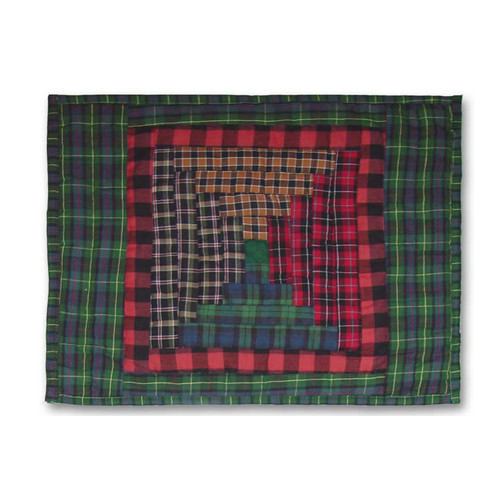 Patch Magic Tartan Log Cabin Cotton Boudoir/Breakfast Pillow Cover (Set of 2)