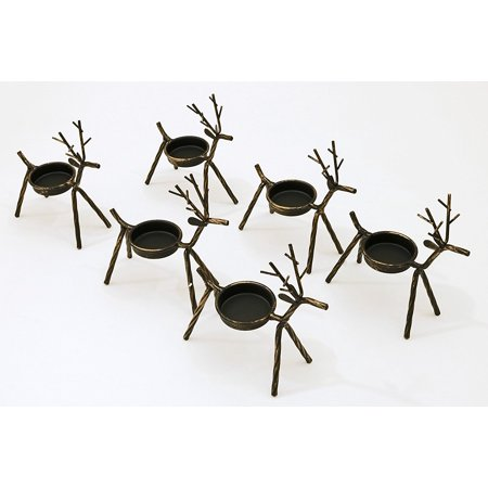 Reindeer Tea Light Holders Iron Rustic Finish Set Of 6 By  Iron Body With A Rustic Bronze Finish By Ltd Commodities
