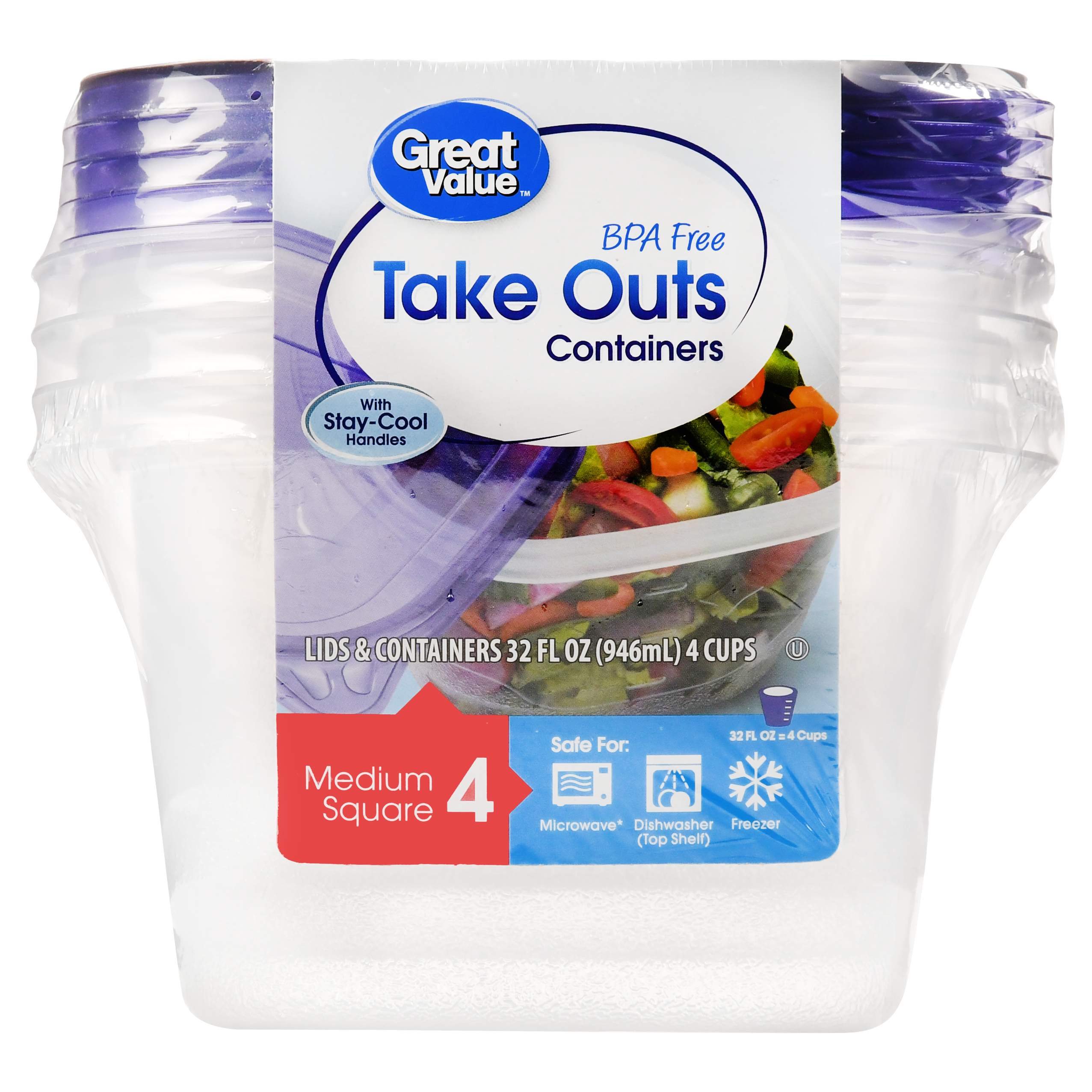 Great Value Take Out Food Storage Containers, Medium Square, 4 Count