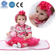 "Zimtown 22"" Handmade Lifelike Baby Girl Doll Silicone Vinyl Reborn Newborn Dolls Christmas Gift"
