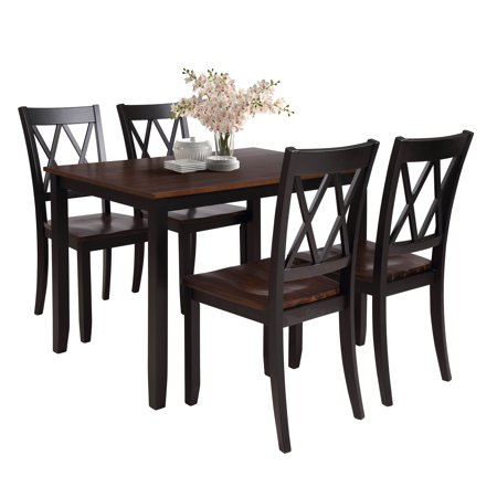 5 Piece Dining Set, Industrial Style Wooden Kitchen Table and Chairs, Rectangular Dining Table Set with 4 Chairs, Small Space Breakfast Furniture for Dining Room, Restaurant, Coffee Shop, Black, W5959 ()