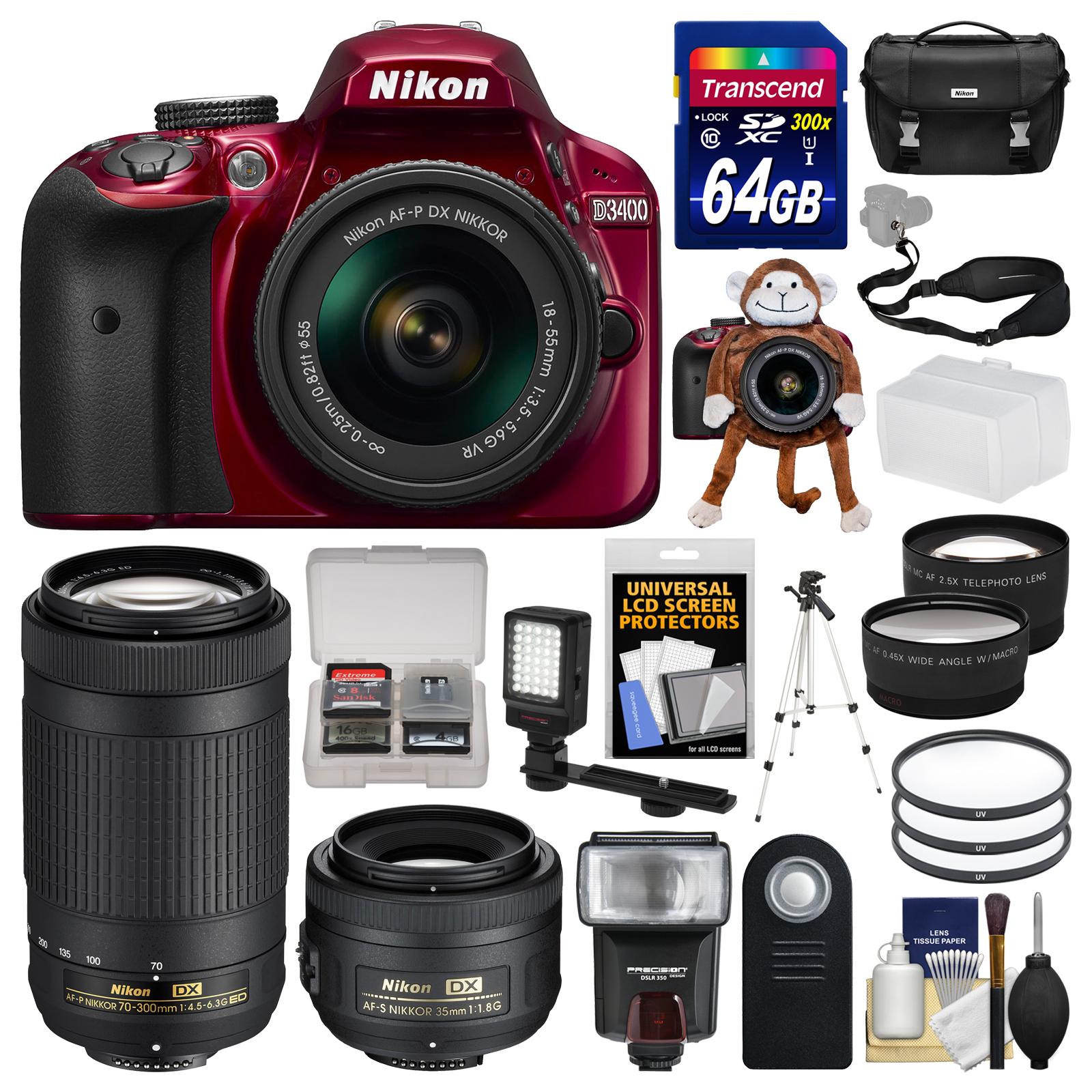 Nikon D3400 Digital SLR Camera (Red) & 18-55mm VR, 70-300mm DX AF-P, 35mm f 1.8G Lenses + 64GB Card + Case +... by Nikon
