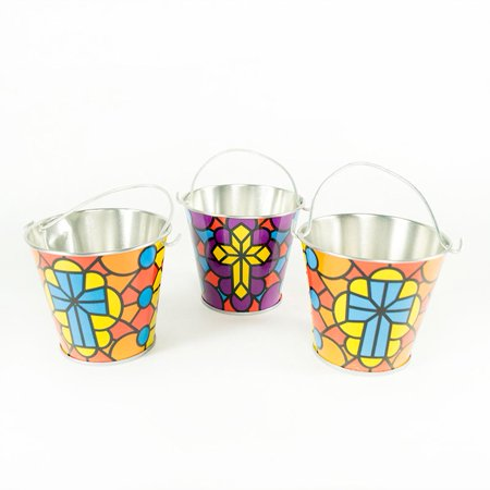 Religious Stained Glass Pails - Easter Pails